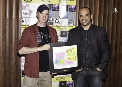 Noel Brady winner of Best Irish Short and the jury, Hope Brown on the right